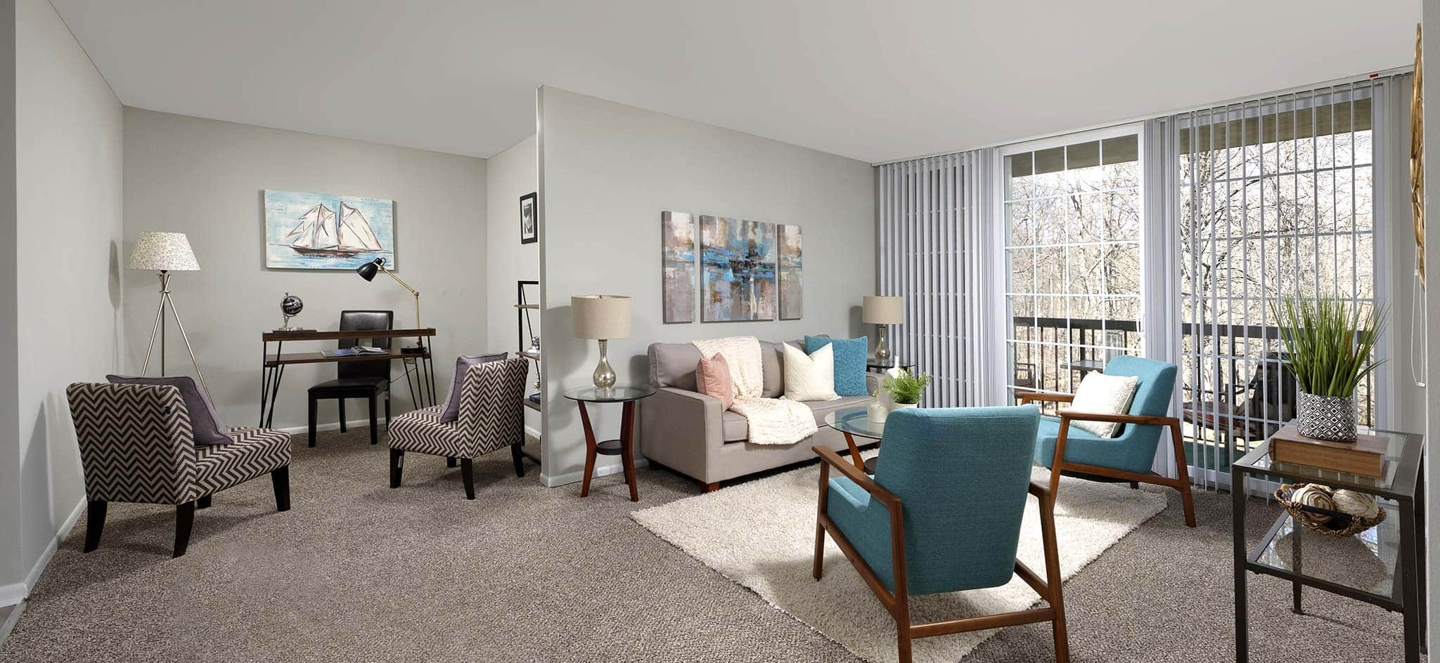 Country Place Apartments model apartment living area