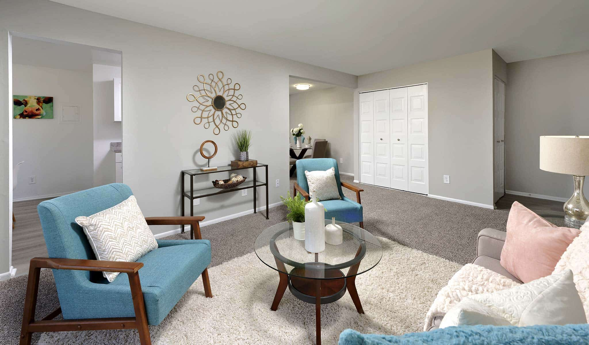 Entrance and living area in a Country Place Apartments model apartment
